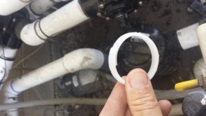 scrap of plastic ring plugs up the pump